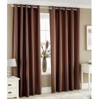 P Home Decor Polyester Long Door Curtains (Set of 2) 9 Feet x 4 Feet, Brown