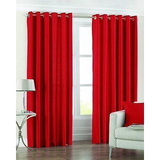 P Home Decor Polyester Door Curtains (Set of 2) 7 Feet x 4 Feet, Red