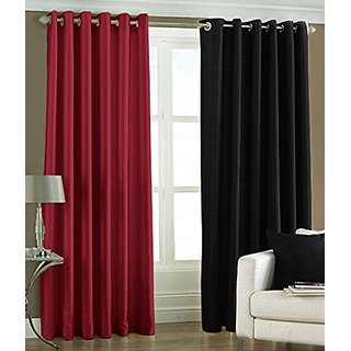 P Home Decor Polyester Window Curtains (Set of 2) 5 Feet x 4 Feet, 1 Maroon 1 Black