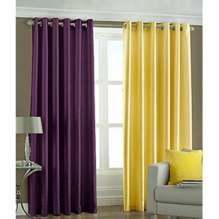 P Home Decor Polyester Long Door Curtains (Set of 2) 9 Feet x 4 Feet, 1 Purple 1 Yellow