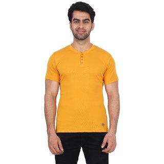 Fashcom Mens Yellow Bodyfit Rib Henley Half Sleeves T-Shirt