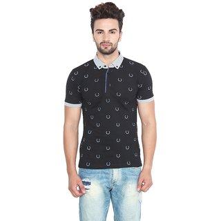 Fashcom Mens Black Leaf Half Sleeves Polo T-Shirt