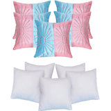 Star Embroidery Cushion With Fillers Sky Blue & Pink (10 Pcs Set)