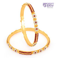 Sukkhi Gold Plated Color Stone Bangles - Option 4