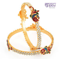 Sukkhi Gold Plated Multicolor Brass  Copper Bangles For Women