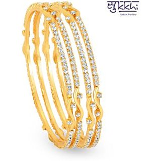 Sukkhi Gold Plated Silver  Golden Brass  Copper Bangles For Women