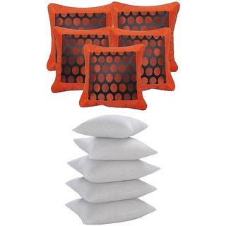 Dot Jackard Cushion With Fillers Orange (10 Pcs Set)