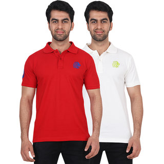 Fashcom Mens Red and White Green Polo T-shirts Combo
