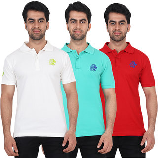 Fashcom Mens Red, White Green and Turquoise Polo  T-shirts Combo