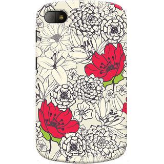 Oyehoye Floral Pattern Style Printed Designer Back Cover For Blackberry Q10 Mobile Phone - Matte Finish Hard Plastic Slim Case
