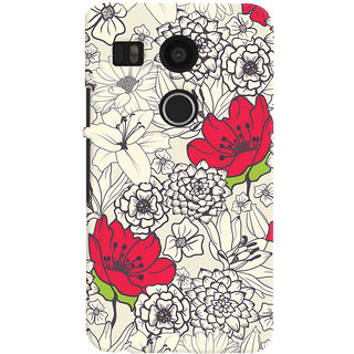 Oyehoye Floral Pattern Style Printed Designer Back Cover For LG Google Nexus 5X Mobile Phone - Matte Finish Hard Plastic Slim Case