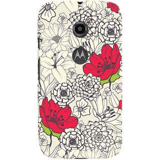 Oyehoye Floral Pattern Style Printed Designer Back Cover For Motorola Moto E2 Mobile Phone - Matte Finish Hard Plastic Slim Case