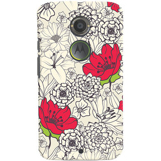 Oyehoye Floral Pattern Style Printed Designer Back Cover For Motorola Moto X2 Mobile Phone - Matte Finish Hard Plastic Slim Case