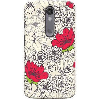 Oyehoye Floral Pattern Style Printed Designer Back Cover For Motorola Moto X Force Mobile Phone - Matte Finish Hard Plastic Slim Case