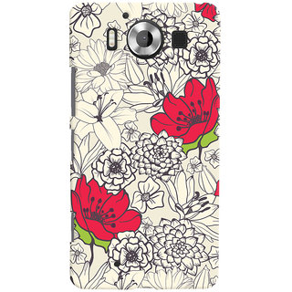 Oyehoye Floral Pattern Style Printed Designer Back Cover For Microsoft Lumia 950 Mobile Phone - Matte Finish Hard Plastic Slim Case