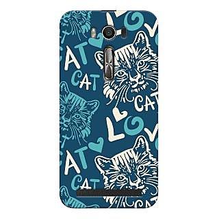 Oyehoye Cat Love Pattern Style Printed Designer Back Cover For Asus Zenfone 2 Laser ZE500KL Mobile Phone - Matte Finish Hard Plastic Slim Case