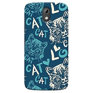 Oyehoye Cat Love Pattern Style Printed Designer Back Cover For HTC Desire 526G Plus / Dual Sim Mobile Phone - Matte Finish Hard Plastic Slim Case
