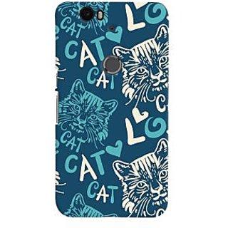 Oyehoye Cat Love Pattern Style Printed Designer Back Cover For Huawei Google Nexus 6P Mobile Phone - Matte Finish Hard Plastic Slim Case