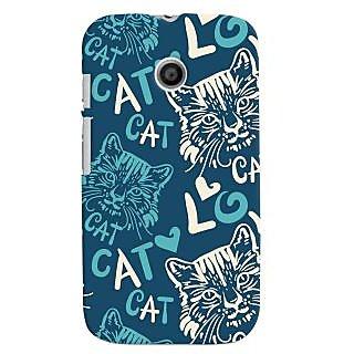 Oyehoye Cat Love Pattern Style Printed Designer Back Cover For Motorola Moto E Mobile Phone - Matte Finish Hard Plastic Slim Case