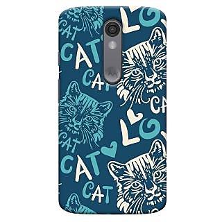 Oyehoye Cat Love Pattern Style Printed Designer Back Cover For Motorola Moto X Force Mobile Phone - Matte Finish Hard Plastic Slim Case