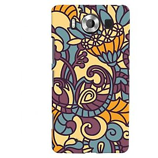 Oyehoye Floral Pattern Style Printed Designer Back Cover For Microsoft Lumia 950 Mobile Phone - Matte Finish Hard Plastic Slim Case