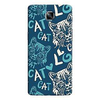Oyehoye Cat Love Pattern Style Printed Designer Back Cover For OnePlus 3 Mobile Phone - Matte Finish Hard Plastic Slim Case