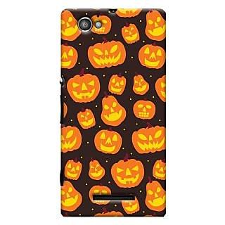 Oyehoye Halloween Pattern Style Printed Designer Back Cover For Sony Xperia M Mobile Phone - Matte Finish Hard Plastic Slim Case