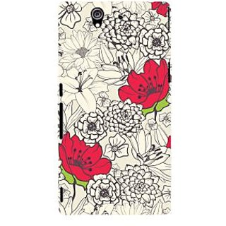 Oyehoye Floral Pattern Style Printed Designer Back Cover For Sony Xperia Z Mobile Phone - Matte Finish Hard Plastic Slim Case