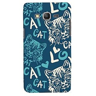 Oyehoye Cat Love Pattern Style Printed Designer Back Cover For Samsung Galaxy Grand Prime Mobile Phone - Matte Finish Hard Plastic Slim Case