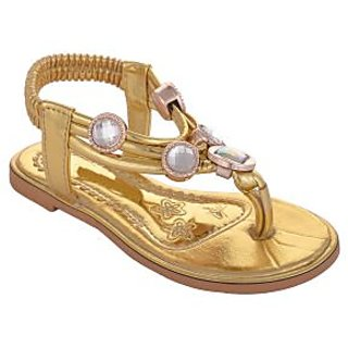 Small Toes Gold Casual Sandals for Girls