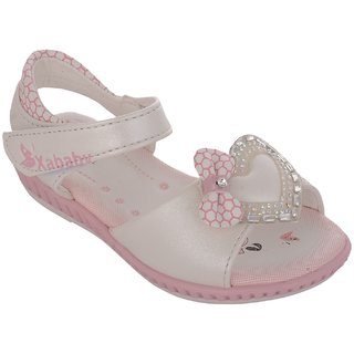 Small Toes White Casual Sandals for Girls
