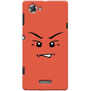 Oyehoye Angry Smiley Quirky Printed Designer Back Cover For Sony Xperia L Mobile Phone - Matte Finish Hard Plastic Slim Case