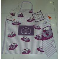 Kitchen Set - TEA CUPS SET - Set Of - Apron, Glove, Pot Holder & Kitchen Towel