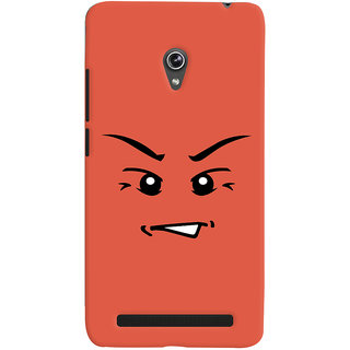 Oyehoye Angry Smiley Quirky Printed Designer Back Cover For Asus Zenfone 6 Mobile Phone - Matte Finish Hard Plastic Slim Case