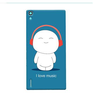 Oyehoye I Love Music Printed Designer Back Cover For Huawei Ascend P7 / Dual Sim Mobile Phone - Matte Finish Hard Plastic Slim Case