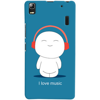Oyehoye I Love Music Printed Designer Back Cover For Lenovo A7000 Mobile Phone - Matte Finish Hard Plastic Slim Case