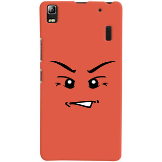 Oyehoye Angry Smiley Quirky Printed Designer Back Cover For Lenovo A7000 Mobile Phone - Matte Finish Hard Plastic Slim Case