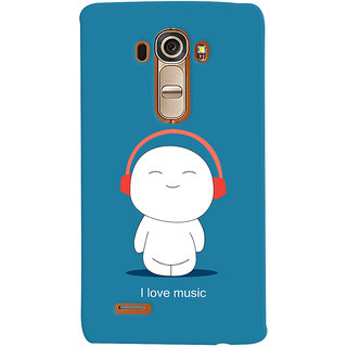 Oyehoye I Love Music Printed Designer Back Cover For LG G4 H818N Mobile Phone - Matte Finish Hard Plastic Slim Case