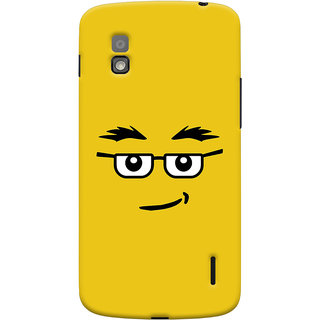 Oyehoye Quirky Smiley Expression Printed Designer Back Cover For LG Google Nexus 4 Mobile Phone - Matte Finish Hard Plastic Slim Case
