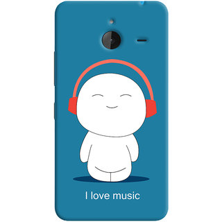 Oyehoye I Love Music Printed Designer Back Cover For Microsoft Lumia 640 XL Mobile Phone - Matte Finish Hard Plastic Slim Case
