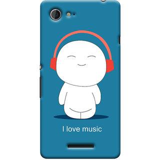 Oyehoye I Love Music Printed Designer Back Cover For Sony Xperia E3 Mobile Phone - Matte Finish Hard Plastic Slim Case