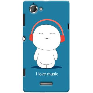 Oyehoye I Love Music Printed Designer Back Cover For Sony Xperia L Mobile Phone - Matte Finish Hard Plastic Slim Case