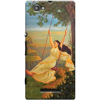 Oyehoye Meera Mythological Art Printed Designer Back Cover For Sony Xperia M Mobile Phone - Matte Finish Hard Plastic Slim Case