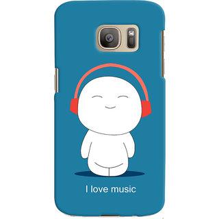 Oyehoye I Love Music Printed Designer Back Cover For Samsung Galaxy S7 Edge Mobile Phone - Matte Finish Hard Plastic Slim Case