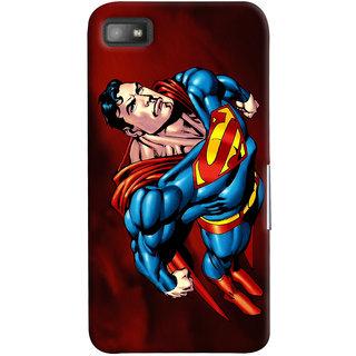 Oyehoye Superman Printed Designer Back Cover For Blackberry Z1O Mobile Phone - Matte Finish Hard Plastic Slim Case
