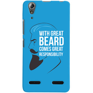 Oyehoye Beard Quote Quirky Printed Designer Back Cover For Lenovo A6000 Mobile Phone - Matte Finish Hard Plastic Slim Case