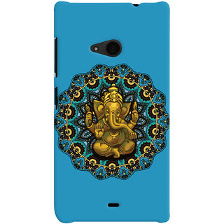 Oyehoye Lord Ganesha Ganpati Devotional Printed Designer Back Cover For Microsoft Lumia 535 / Dual Sim Mobile Phone - Matte Finish Hard Plastic Slim Case