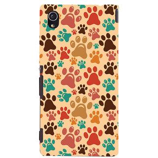 Oyehoye Animal Paw Print Pattern Style Printed Designer Back Cover For Sony Xperia M4 Aqua - Not Dual Mobile Phone - Matte Finish Hard Plastic Slim Case