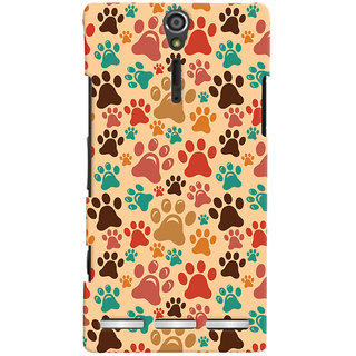 Oyehoye Animal Paw Print Pattern Style Printed Designer Back Cover For Sony Xperia SL Mobile Phone - Matte Finish Hard Plastic Slim Case