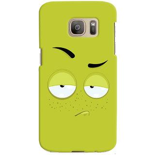 Oyehoye Smiley Expression Printed Designer Back Cover For Samsung Galaxy S7 Edge Mobile Phone - Matte Finish Hard Plastic Slim Case